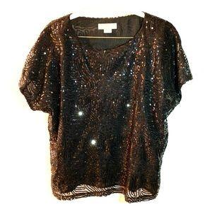 MICHAEL Michael Kors NWOT Black Sequin Top XL